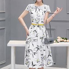 Enjoi - Printed Short-Sleeve Chiffon Dress