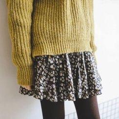 JUSTONE - Gathered-Waist Floral Pattern Mini Skirt