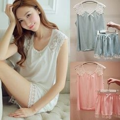 Snorie - Pajama Set: Lace Panel Sleeveless Top + Shorts