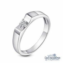 Leo Diamond - 18K白色黄金单颗钻石点缀订婚结婚女装戒指