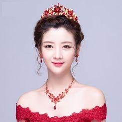 Puru Lia - Bridal Set: Rhinestone Tiara + Necklace + Earrings