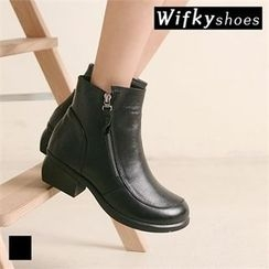 Wifky - Zip-Side Genuine-Leather Ankle Boots
