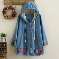 Nycto - Embroidered Hooded Denim Jacket