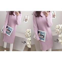 DAILY LOOK - Mock-Neck Ribbed Knit Dress