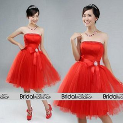 Bridal Workshop - Strapless Bow-Accent Short Prom Dress
