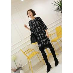 Lemite - 3/4-Sleeve Fringed Bouclé Shift Dress