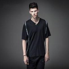 T Empire - Letter V-neck Short-Sleeve T-shirt