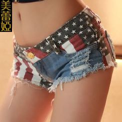 MATITA - Distressed Print Denim Hot Pants