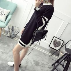 Qimi - 長袖撞色針織連衣裙