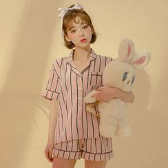 chuu - Pajamas Set: Stripe Shirt + Shorts + Hairband