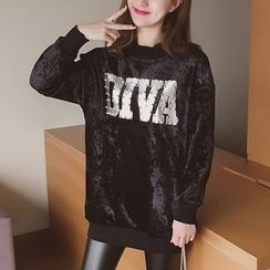 Cocofield - Studded Lettering Long Pullover