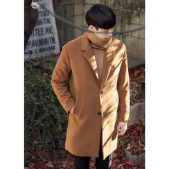 GERIO - Single-Breasted Wool Blend Coat