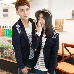 Bay Go Mall - Floral Print Panel Couple Matching Blazer