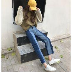 Jeans Kingdom - 拼接直腿牛仔褲