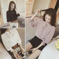 QZ Lady - Long-Sleeve See-Through Chiffon Shirt
