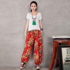 Diosa - Floral Print Baggy Pants