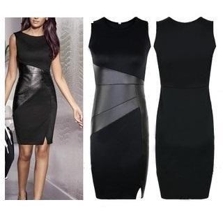 LIVA GIRL - Faux Leather Panel Sleeveless Dress
