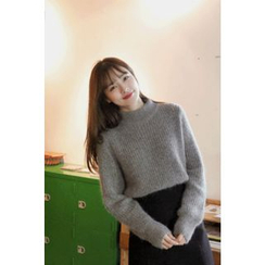 CHERRYKOKO - Mock-Neck Furry-Knit Sweater