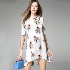 Y:Q - Print Stand Collar Short-Sleeve Dress