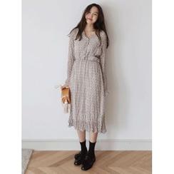 maybe-baby - V-Neck Floral Print Long Dress
