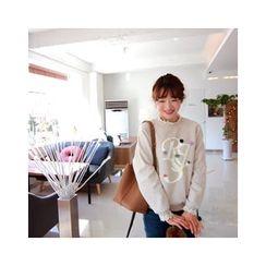 LEELIN - Lace-Trim Raglan-Sleeve T-Shirt