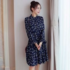 Cobogarden - Floral Print Long-Sleeve Dress