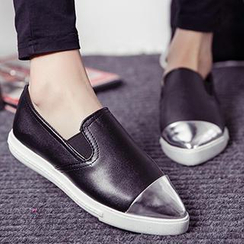 SouthBay Shoes - Metallic-Front Pointy-Toe Slip-Ons