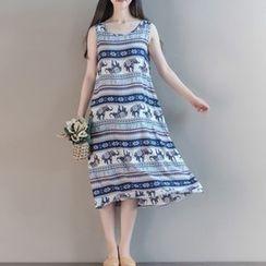 Clover Dream - 无袖图案A字连衣裙