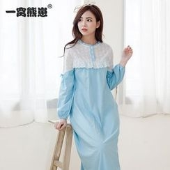 Mother Bear - Maternity Color Panel Long Sleeve Pajama Nursing Dress