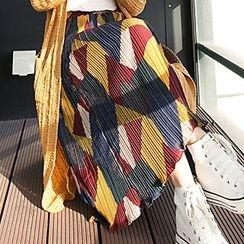 Sweet Dream - Color Block Pleated Midi Skirt