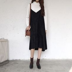 Bloombloom - V-Neck Midi Pinafore Dress