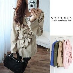 CYNTHIA - Double-Breasted Belted Trench Coat