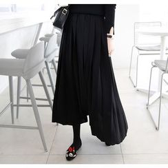 Miamasvin - Band-Waist Pleated Long Skirt