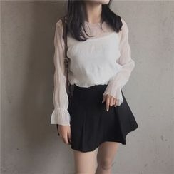 BZY - Set: Sheer Long Sleeve Chiffon Top + Camisole Top