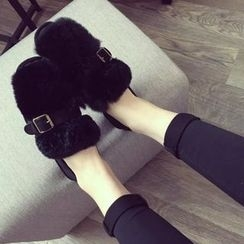 Zandy Shoes - Buckled Furry Flats
