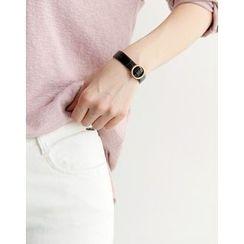 UPTOWNHOLIC - Faux-Leather Metallic Bracelet