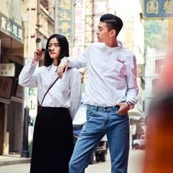 Evolu Fashion - Half Placket Drop Shoulder Matching Couple Shirt