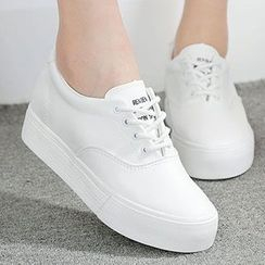 Renben - Platform Hidden Wedge Lace Up Sneakers