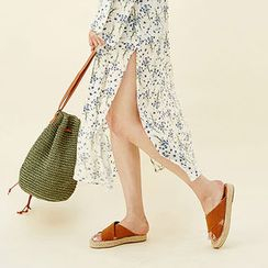 chuu - Flower Pattern Maxi Coverup Robe