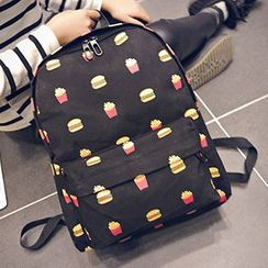 Youme - Burger Print Lightweight Backpack