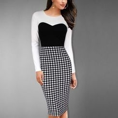 Rebecca - Houndstooth Panel Long-Sleeve Dress