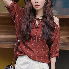 QZ Lady - Off-Shoulder Tie-Neck Patterned Blouse