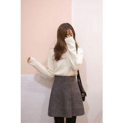 CHERRYKOKO - Mock-Neck Wool Blend Furry-Knit Top