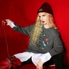 ELF SACK - Mock Two Piece Embroidered Paneled Pullover
