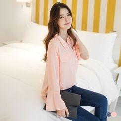OrangeBear - Bell-Sleeved Chiffon Shirt
