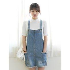 HOODYA - Fray-Hem Denim Jumper Skirt