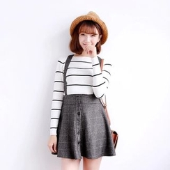 Piko - Check Suspender Skirt