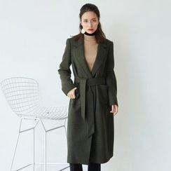 AC - One-Button Lapel Wool Jacket with Sash