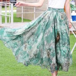 Romantica - Tie-Waist Printed Midi Skirt