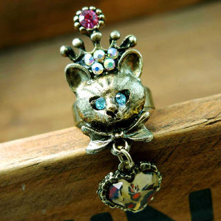 Fit-to-Kill - Cat With Leopard Heart Pendant Ring -Copper